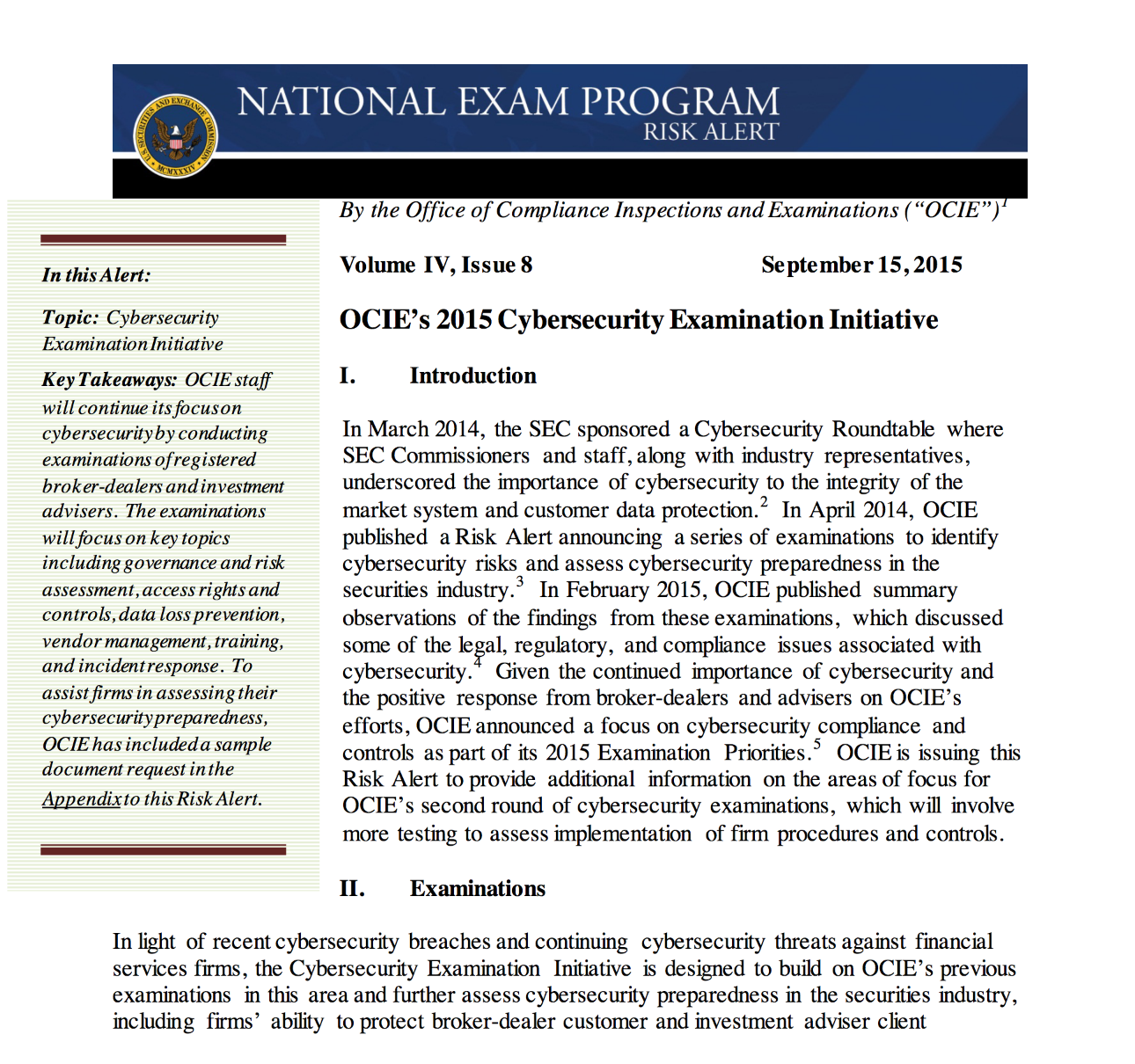 Cybersecurity Examination Initiative