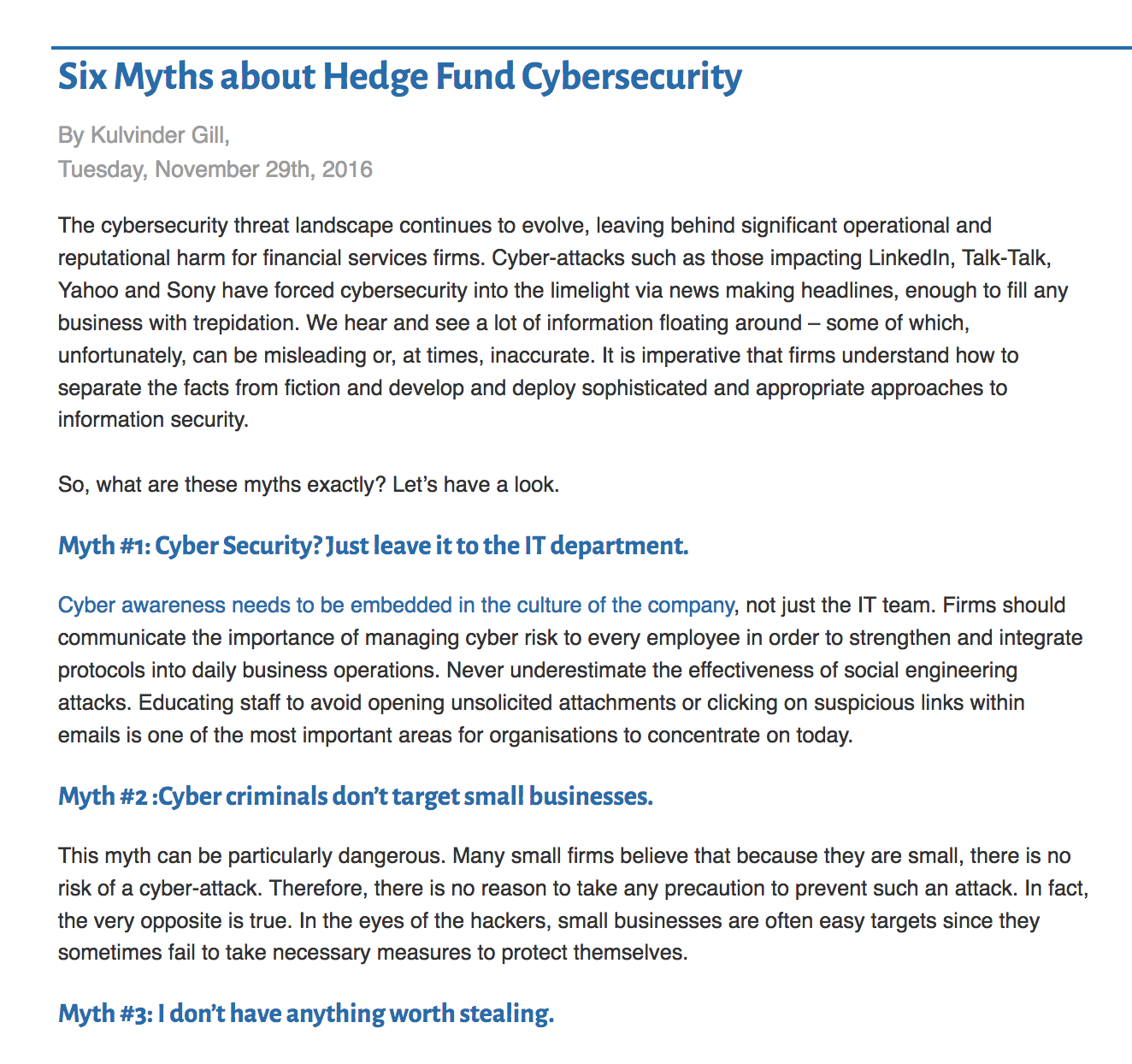 Six Myths about Hedge Fund Cybersecurity